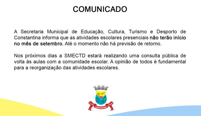 Comunicado – atividades escolares