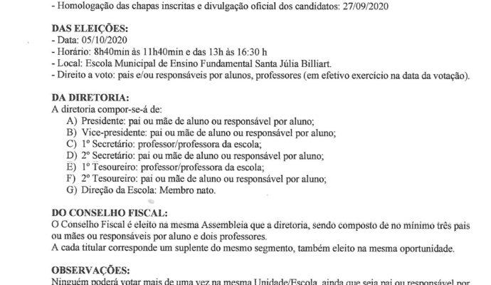 Convocação para assembleia e eleição do CPM 2020/2022 Escola Santa Júlia Billiart