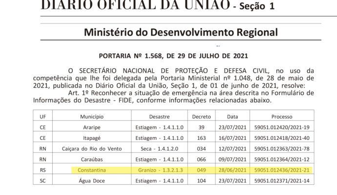 Governo federal reconhece situação de emergência devido à chuva de granizo e município deve solicitar valores para cobertura de prejuízos