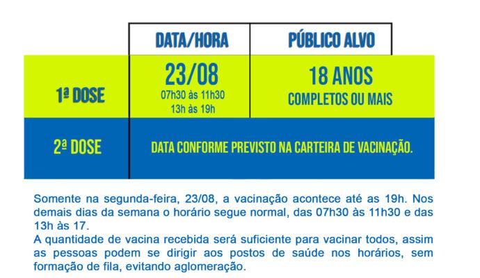 COVID-19: Pessoas com 18 anos completos ou mais já podem receber a vacina