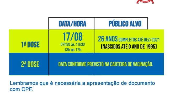 COVID-19: Pessoas com 26 anos completos até DEZ/2021 já podem receber a vacina