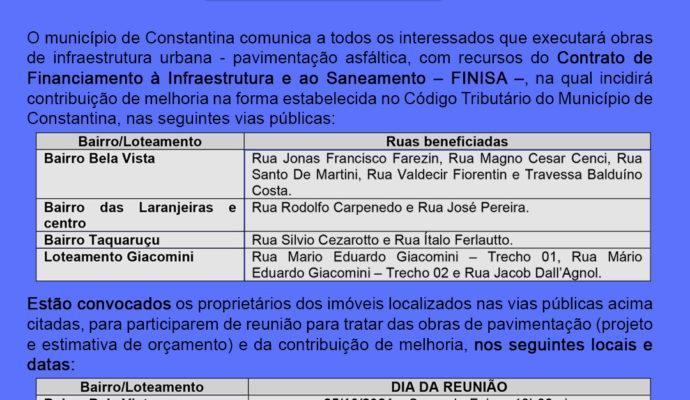 Administração Municipal dará continuidade a obras do FINISA